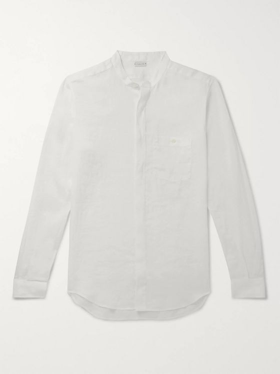 Caruso Slim-Fit Grandad-Collar Slub Linen Shirt