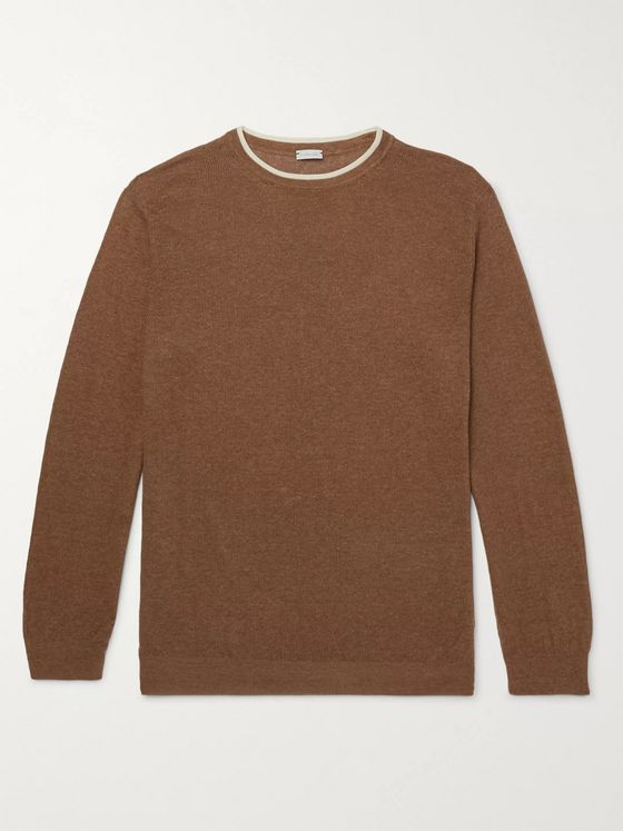 Caruso Contrast-Tipped Silk and Linen-Blend Sweater