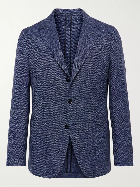 Caruso Herringbone Linen and Cotton-Blend Blazer