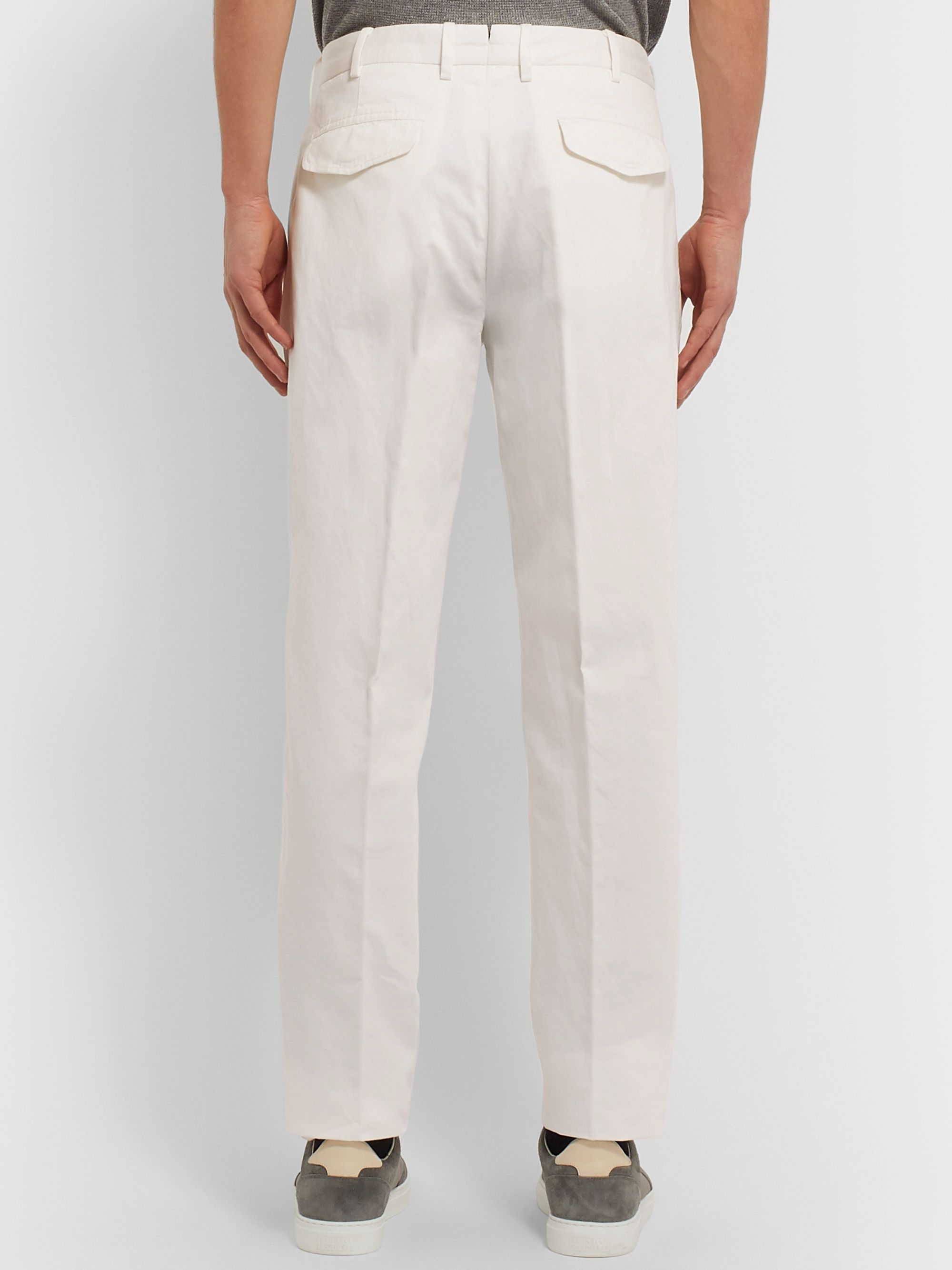 Ermenegildo Zegna Cotton and Linen-Blend Trousers