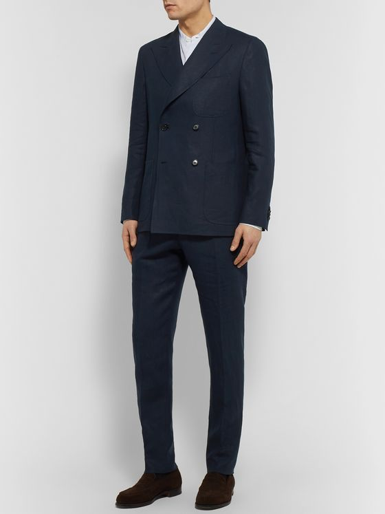 Caruso Unstructured Double-Breasted Linen Suit Jacket