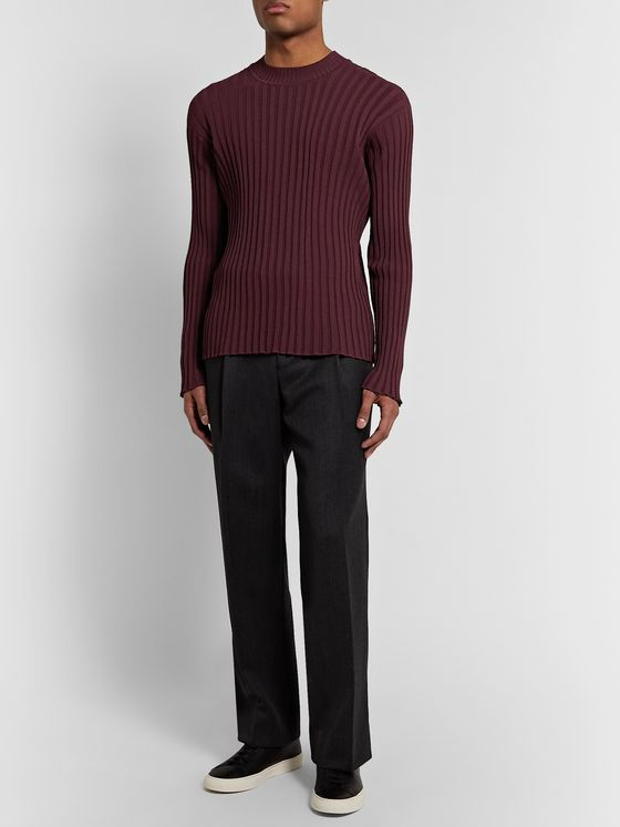 Deveaux Slim-Fit Ribbed-Knit Sweater