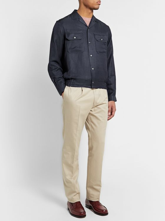 Camoshita Camp-Collar Linen-Blend Overshirt