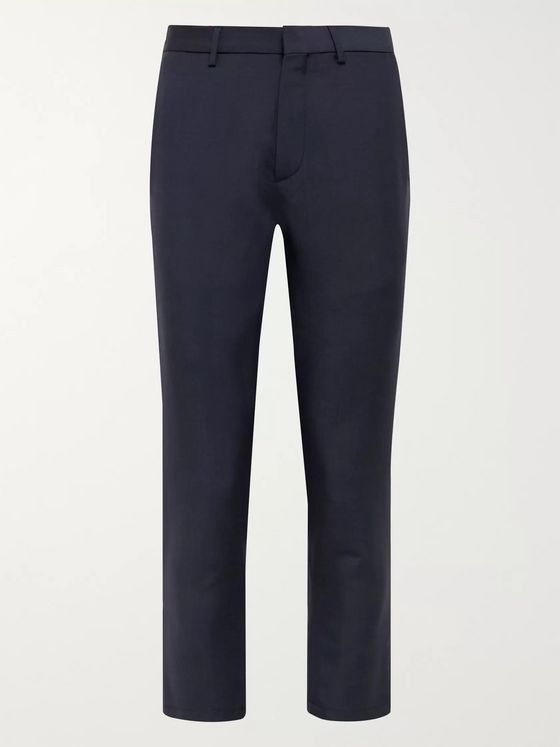 Caruso Navy Slim-Fit Cropped Wool and Mohair-Blend Trousers