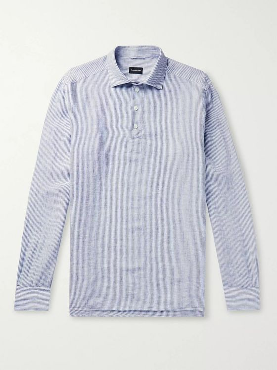 Ermenegildo Zegna Striped Linen Half-Placket Shirt