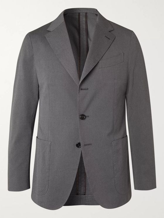 CARUSO Slim-Fit Striped Cotton and Silk-Blend Suit Jacket