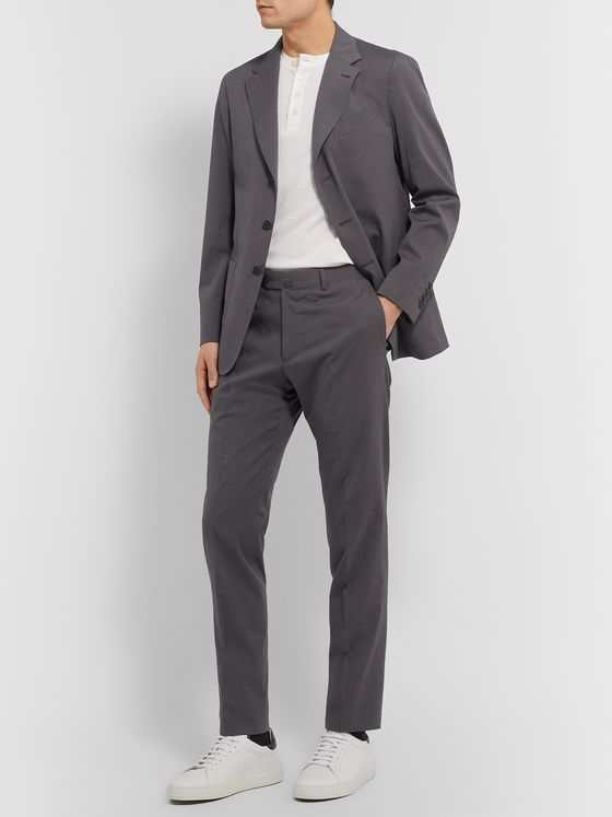 Caruso Slim-Fit Striped Cotton and Silk-Blend Suit Trousers