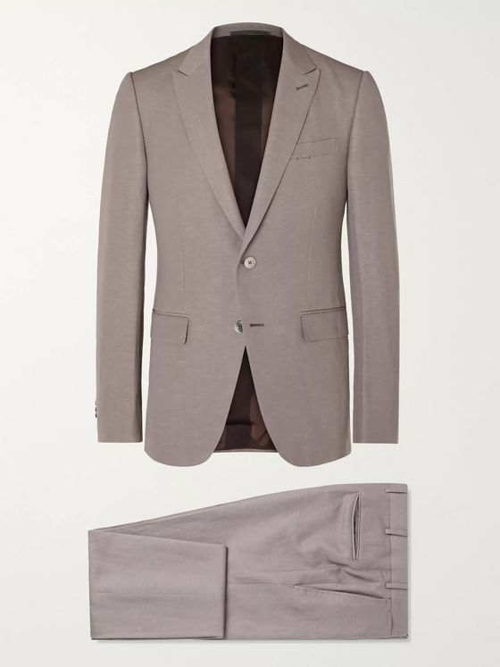 ERMENEGILDO ZEGNA Slim-Fit Trofeo Wool and Linen-Blend Suit