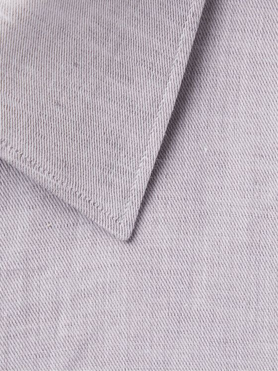 ERMENEGILDO ZEGNA Light-Grey Slim-Fit Linen and Cotton-Blend Shirt