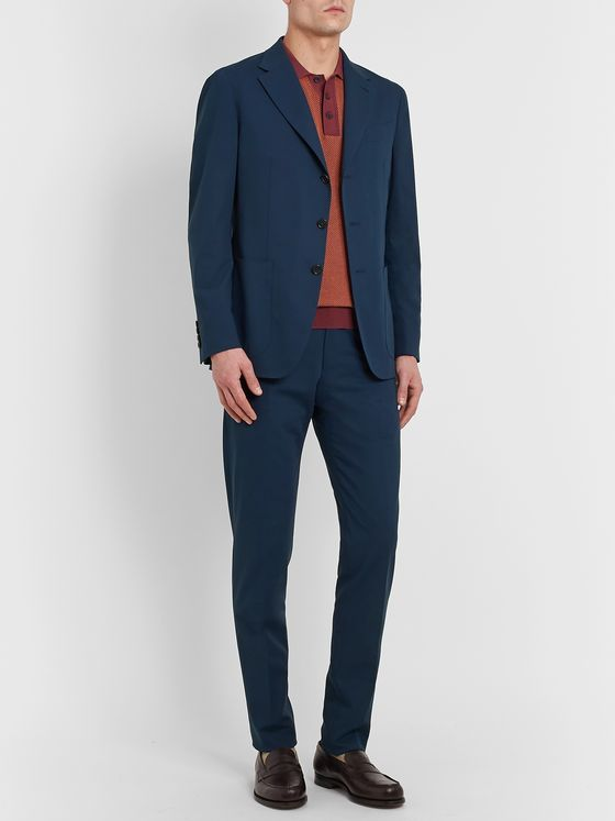 Caruso Slim-Fit Cotton Suit Trousers