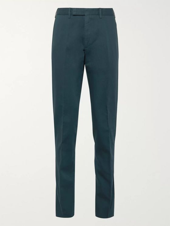 Ermenegildo Zegna Tapered Cotton and Linen-Blend Twill Trousers