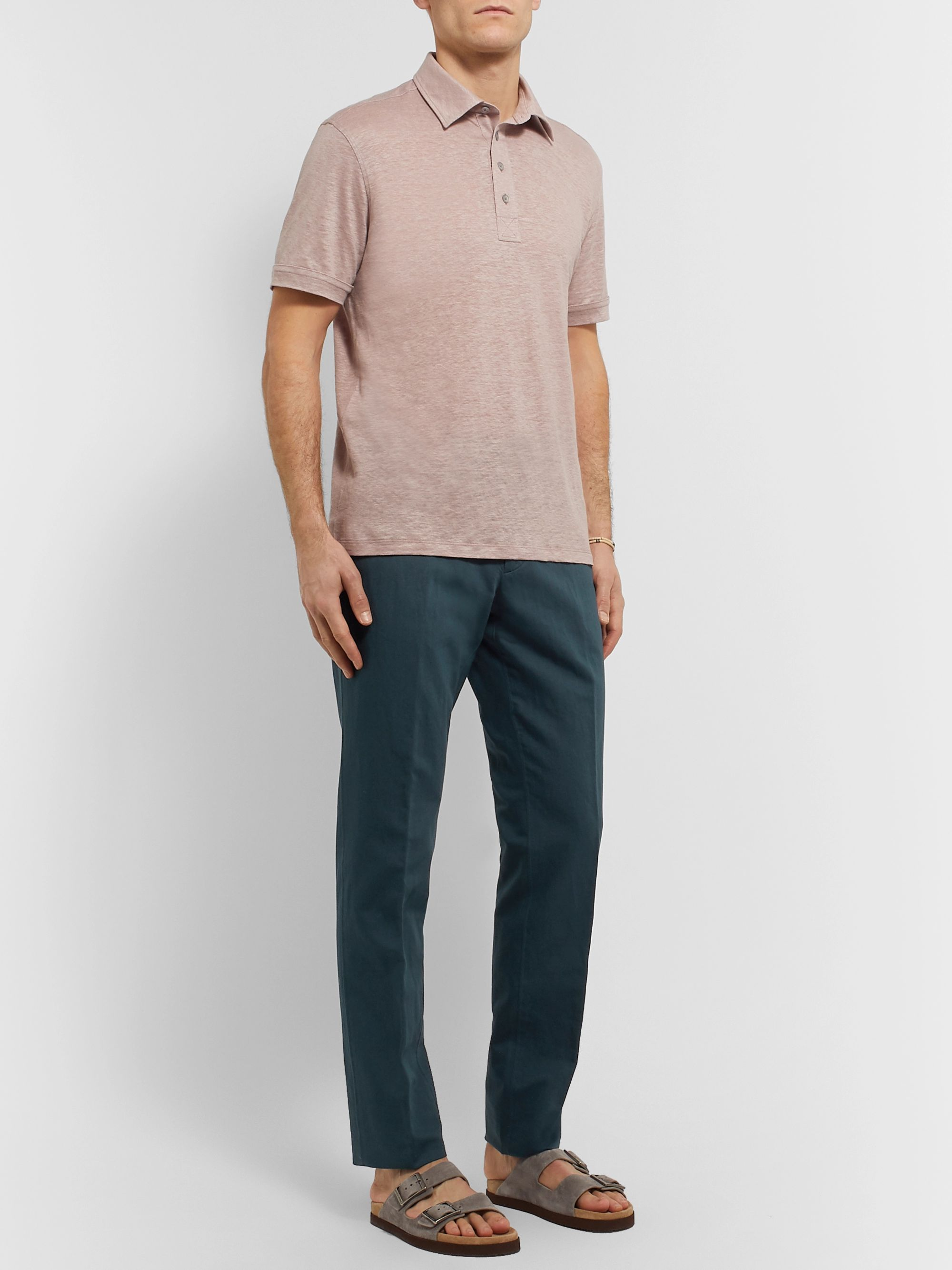 Ermenegildo Zegna Teal Cotton and Linen-Blend Chinos