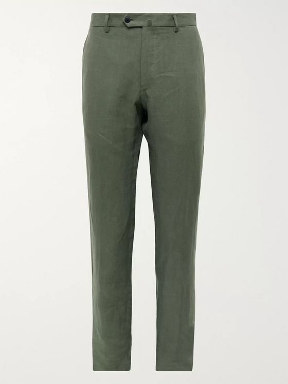 Caruso Slim-Fit Linen Suit Trousers
