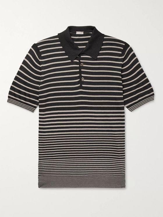 Caruso Striped Silk and Cotton-Blend Polo Shirt