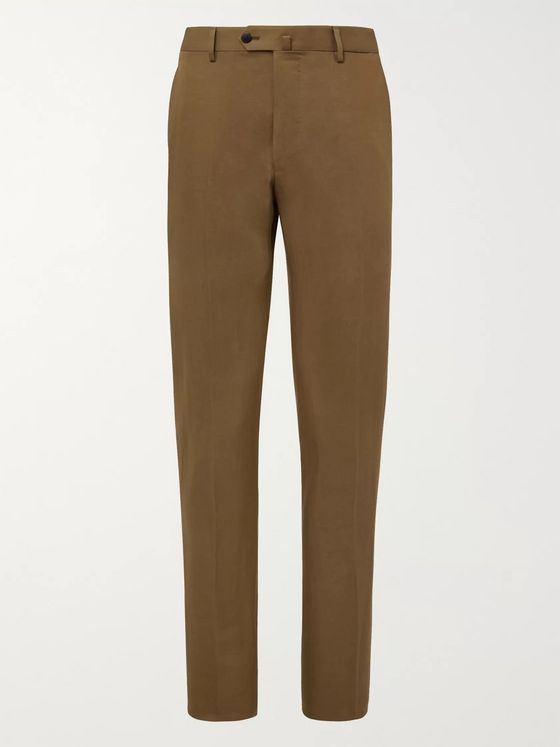 Caruso Slim-Fit Cotton, Linen and Silk-Blend Suit Trousers
