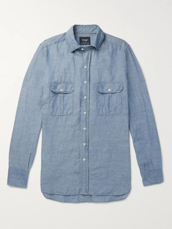 Drake's Slim-Fit Slub Linen and Cotton-Blend Shirt
