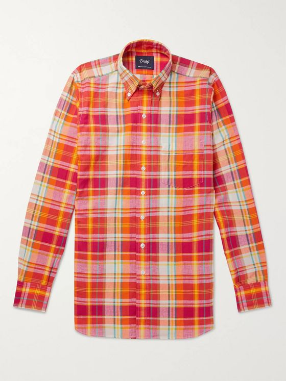 Drake's Slim-Fit Button-Down Collar Checked Cotton Shirt