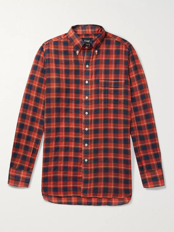 Drake's Slim-Fit Button-Down Collar Checked Cotton and Linen-Blend Shirt