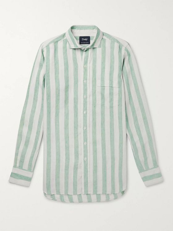 Drake's Cutaway-Collar Striped Linen Shirt