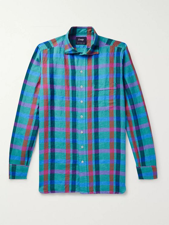 Drake's Checked Linen Shirt