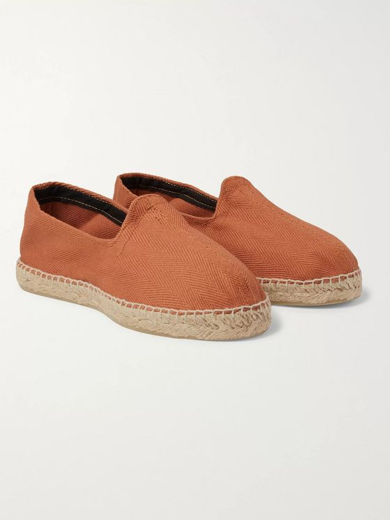 Drake's Herringbone Cotton-Canvas Espadrilles