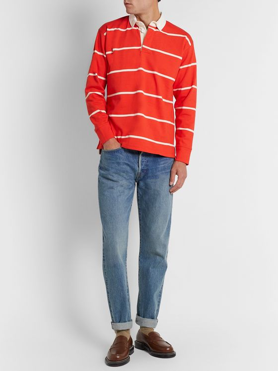 Drake's Twill-Trimmed Striped Cotton-Jersey Rugby Shirt