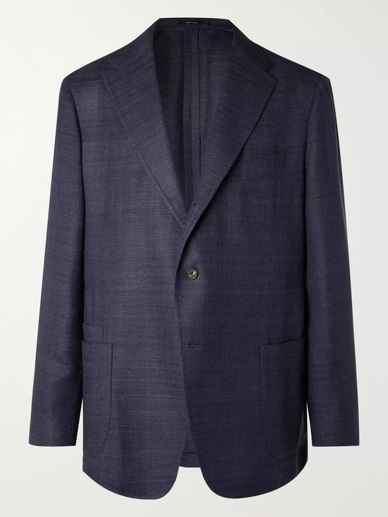 Drake's Unstructured Prince of Wales Linen, Wool and Cotton-Blend Blazer