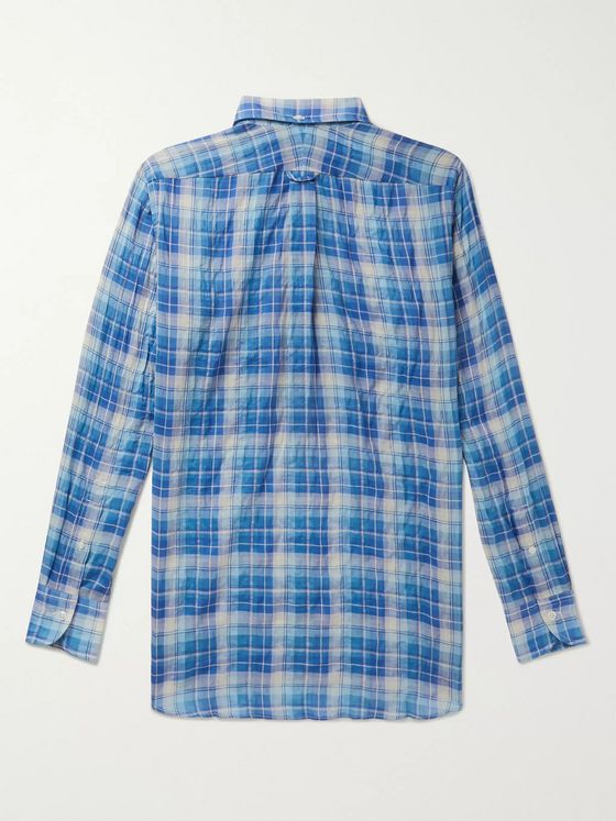 Drake's Button-Down Collar Checked Cotton and Tencel-Blend Shirt