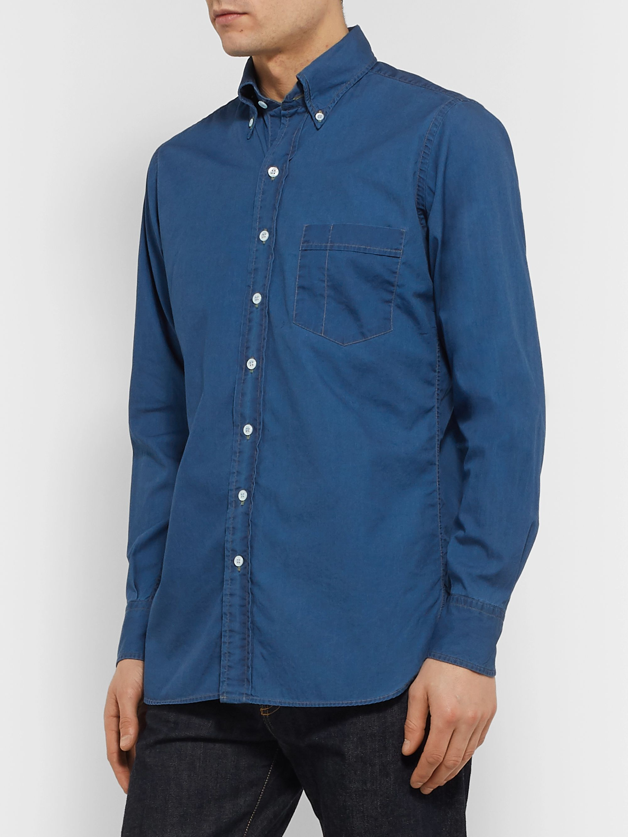 Drake's Slim-Fit Button-Down Collar Cotton and Linen-Blend Shirt