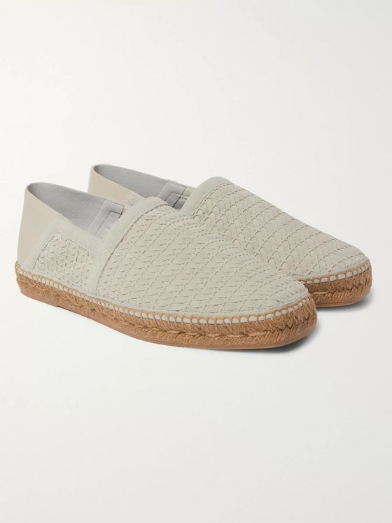 TOM FORD Barnes Leather-Trimmed Woven Suede Espadrilles