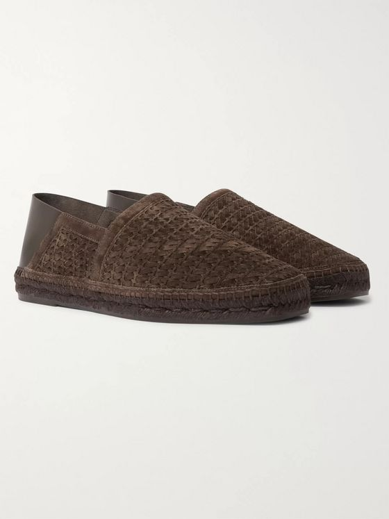 TOM FORD Barnes Collapsible-Heel Woven Suede and Leather Espadrilles