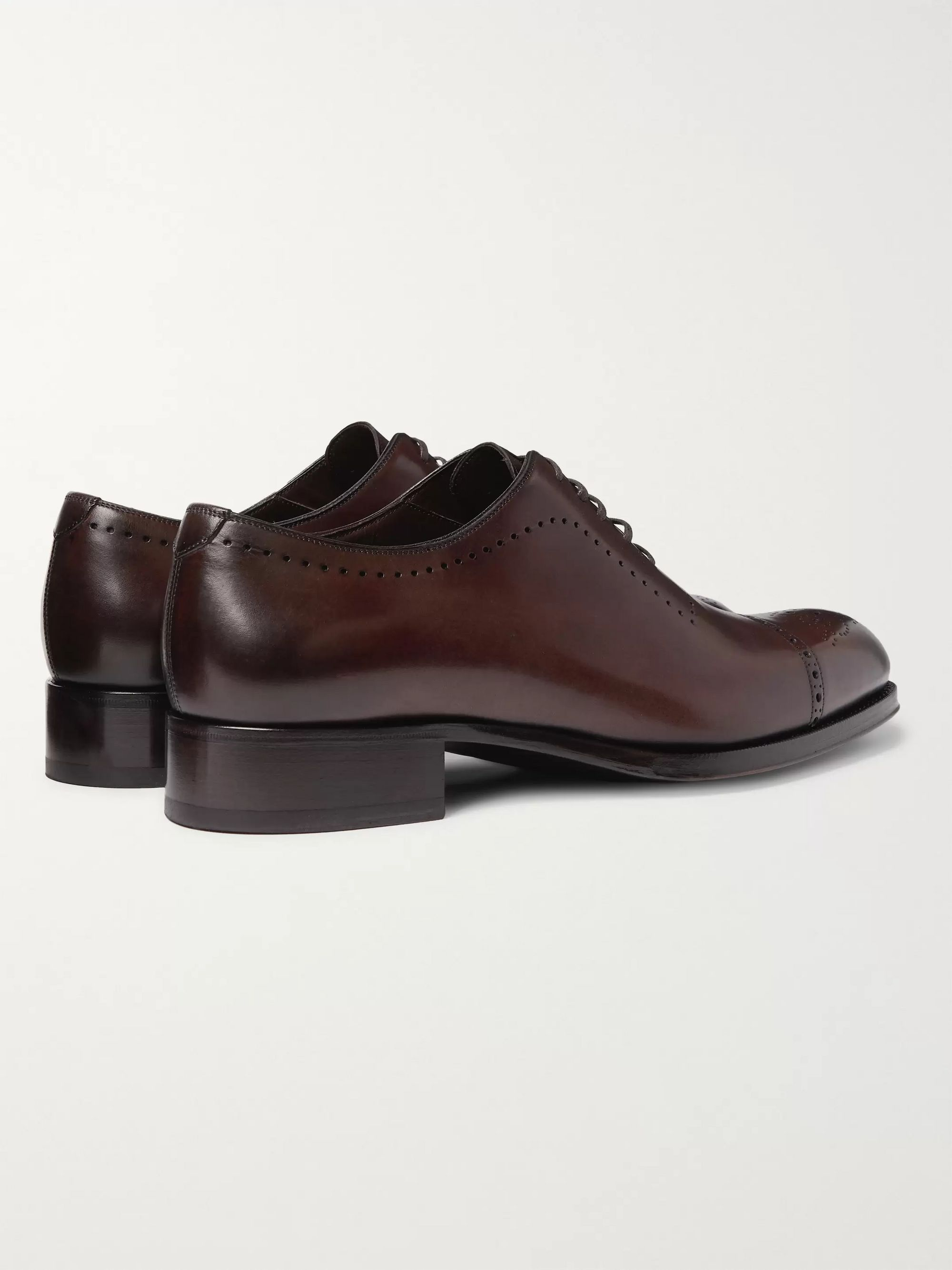 TOM FORD Edgar Whole-Cut Polished-Leather Brogues