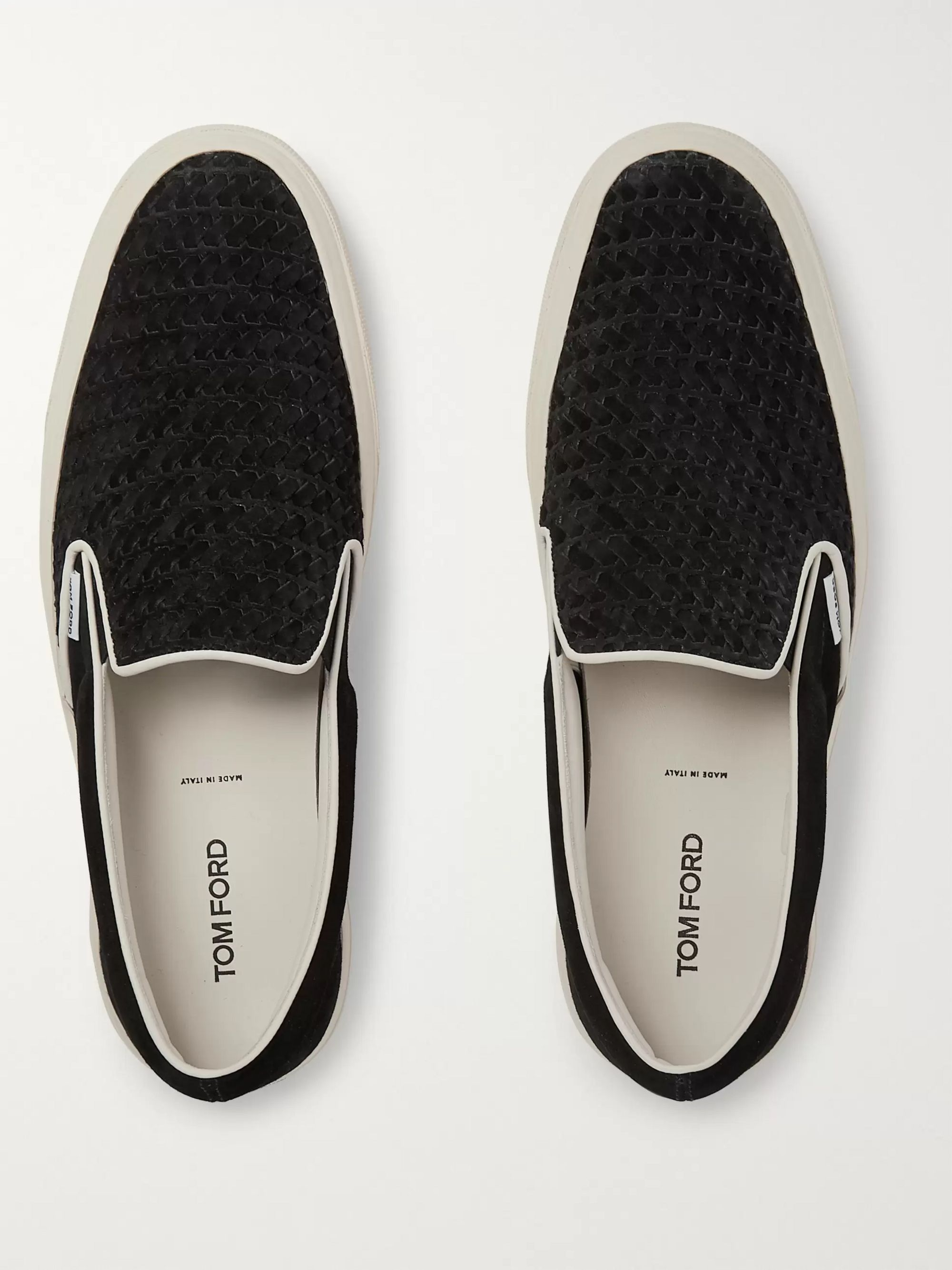 TOM FORD Cambridge Leather-Trimmed Woven Suede Slip-On Sneakers