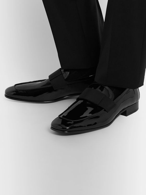 Grosgrain Trimmed Patent Leather Loafers