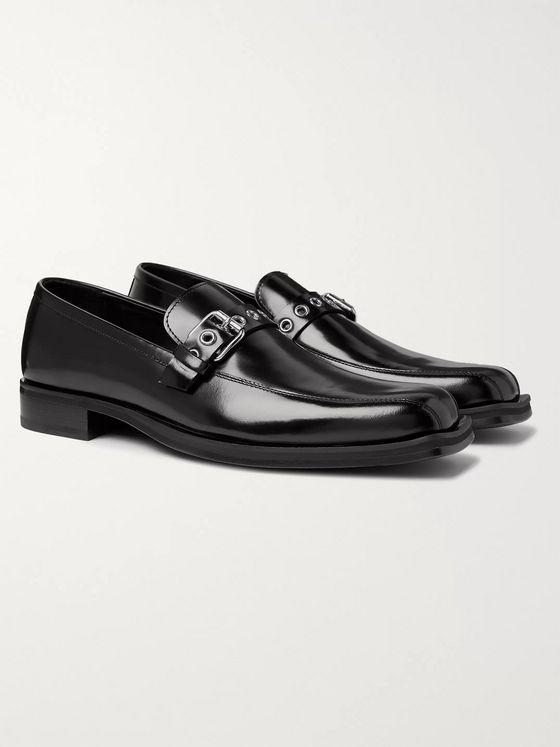 Versace Buckled Glossed-Leather Loafers