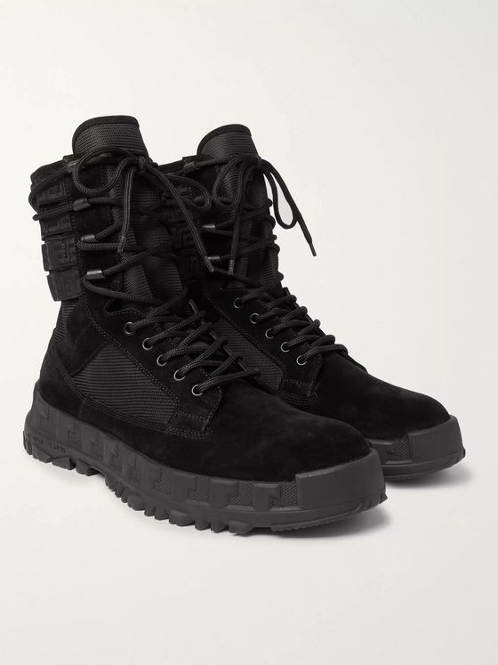 Versace Logo Webbing-Trimmed Suede and Mesh Boots