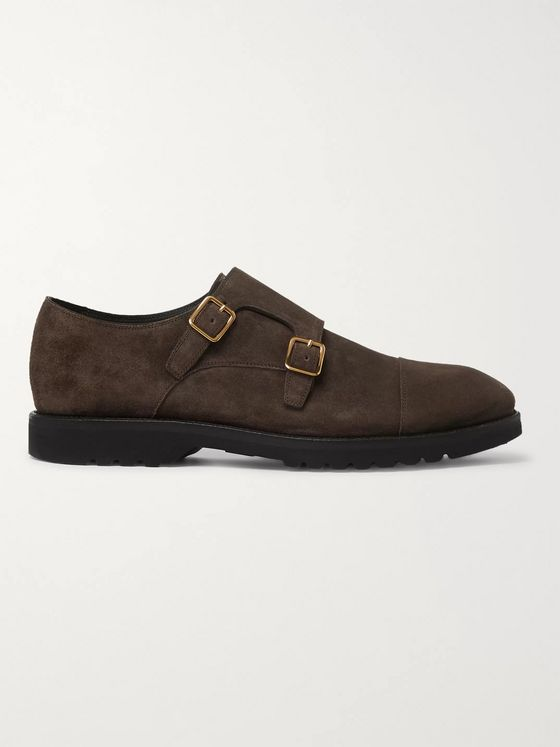 TOM FORD Kensington Suede Monk-Strap Shoes