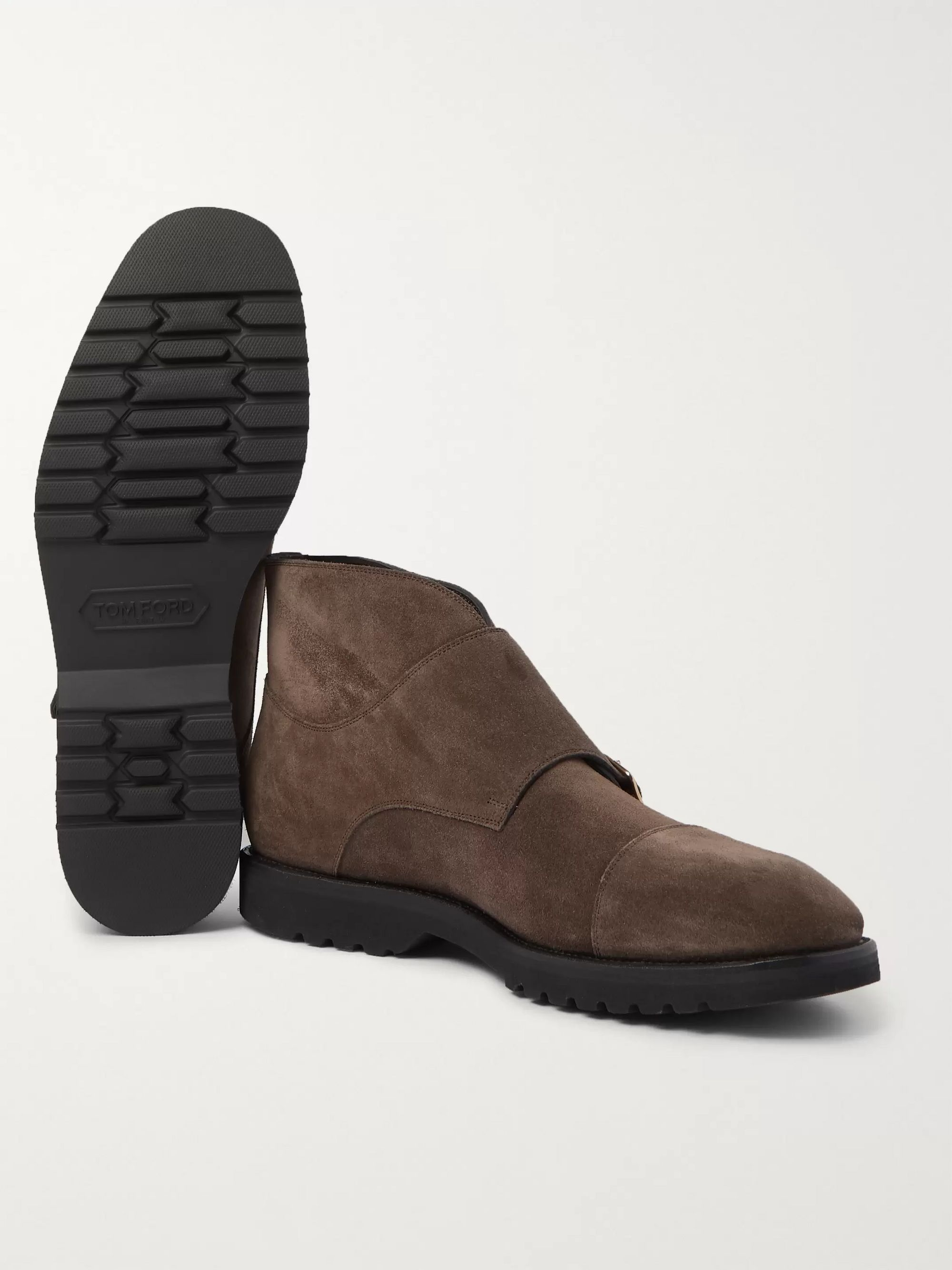 TOM FORD Kensington Suede Monk-Strap Boots