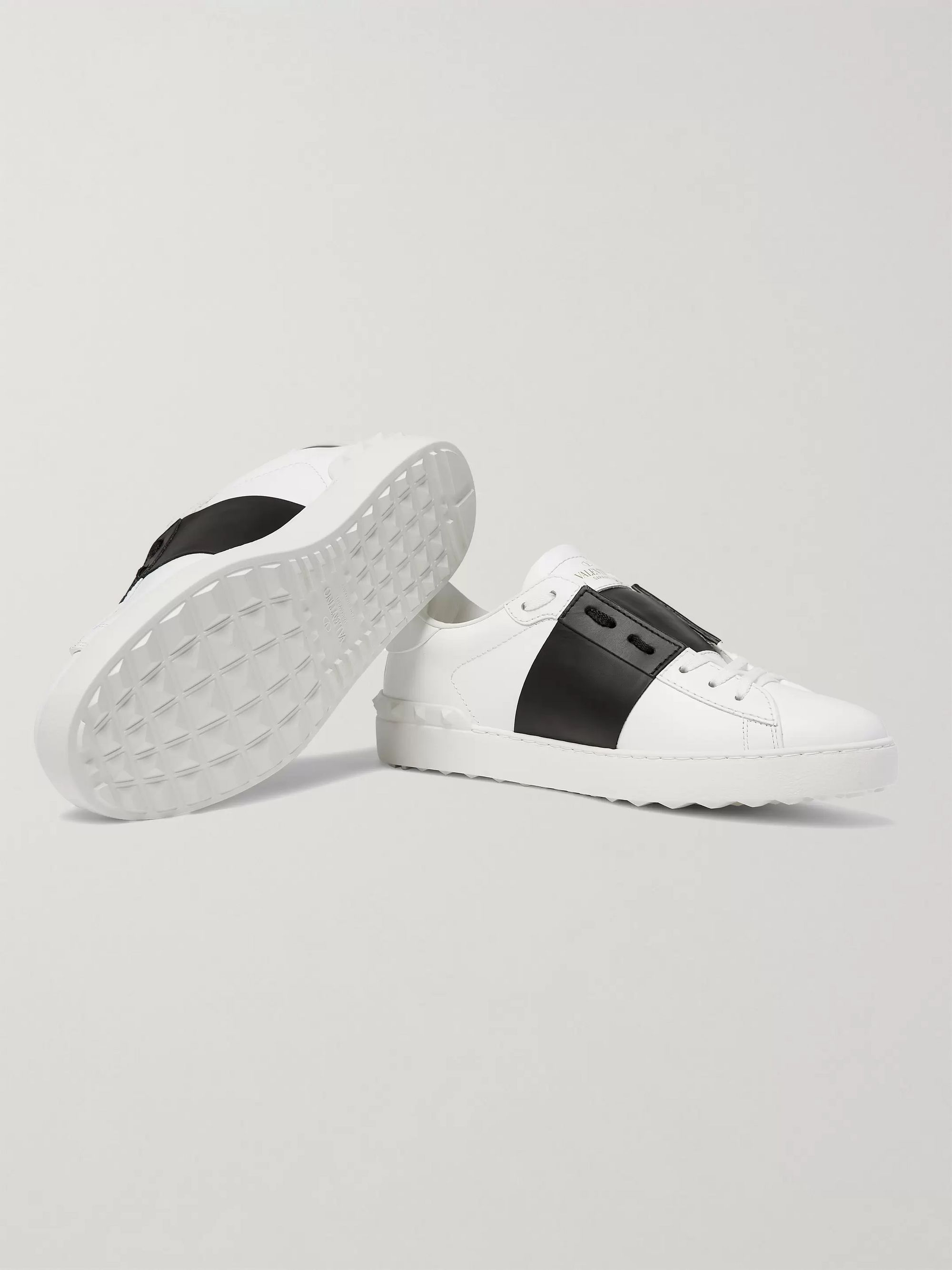 Valentino Valentino Garavani Open Striped Leather Sneakers