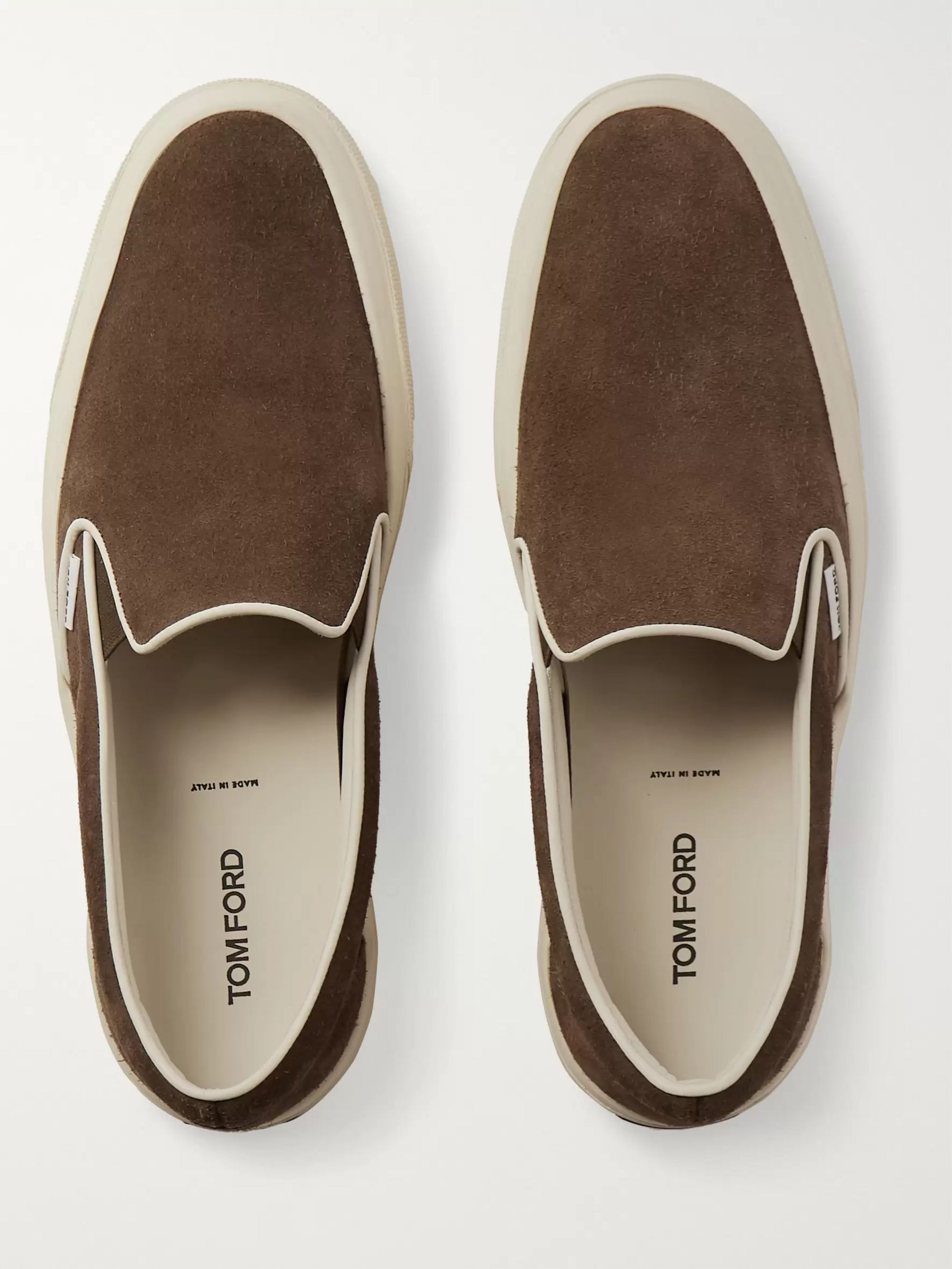 TOM FORD Cambridge Burnished-Leather Slip-On Sneakers