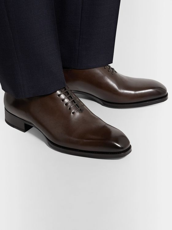 TOM FORD Elkan Whole-Cut Polished-Leather Oxford Shoes