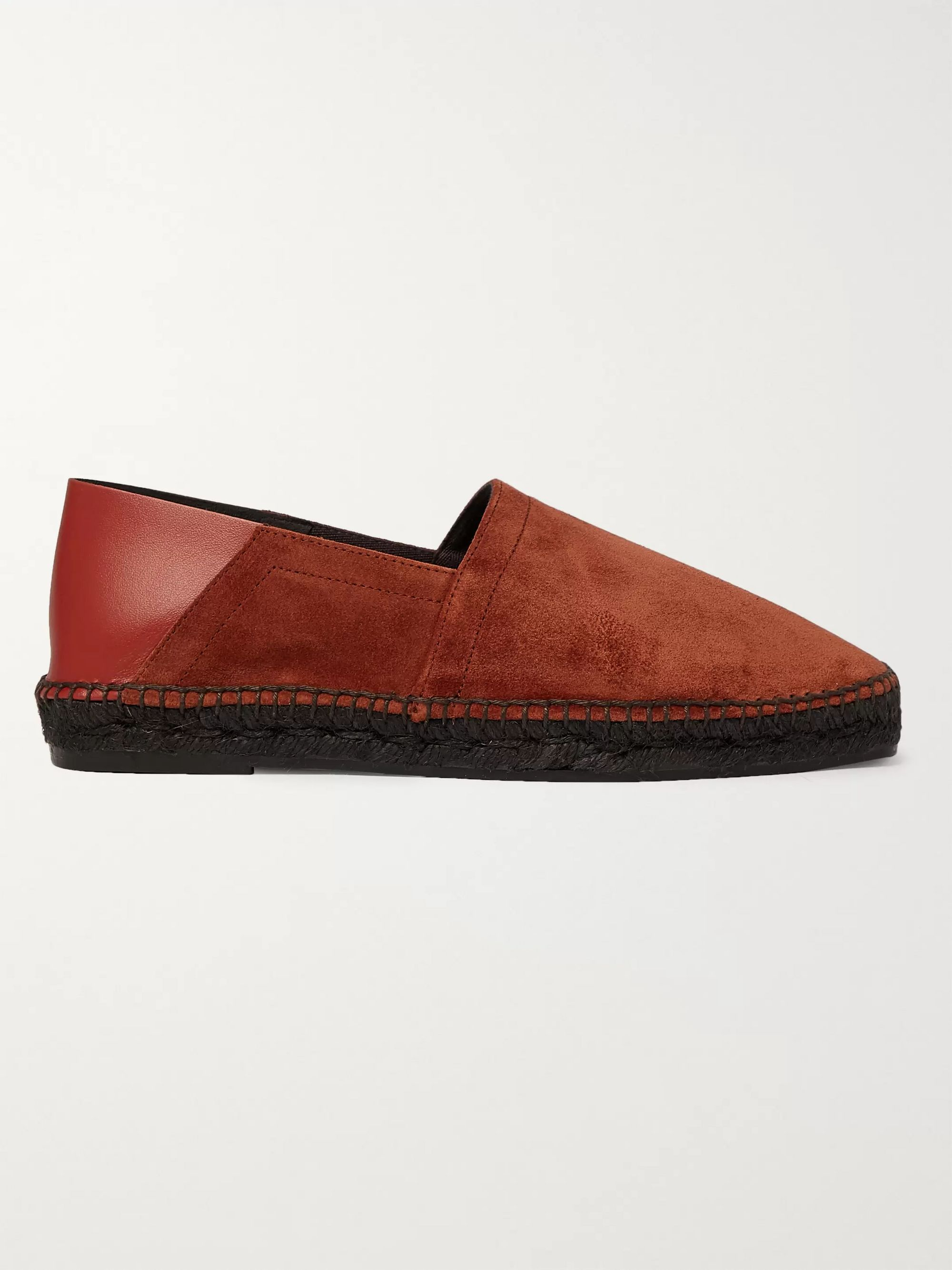 TOM FORD Barnes Collapsible-Heel Suede and Leather Espadrilles