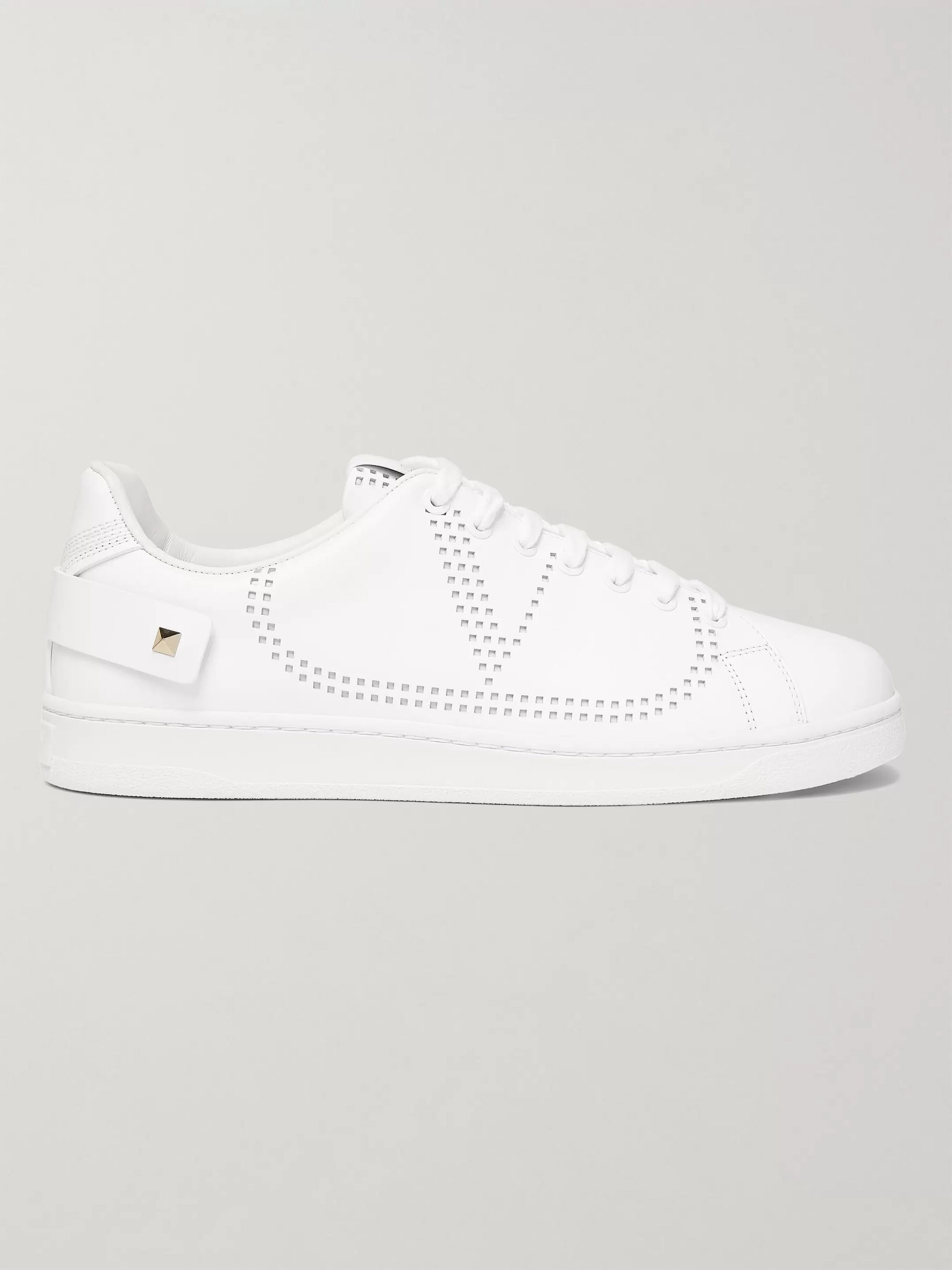 Valentino Valentino Garavani Backnet Perforated Leather Sneakers