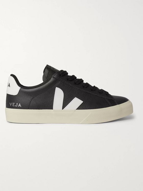 Veja Campo Rubber-Trimmed Full-Grain Leather Sneakers