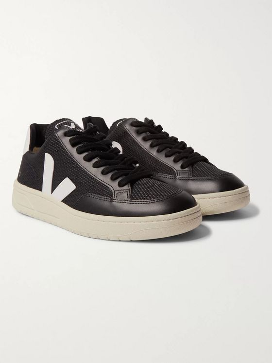 Veja V-12 Leather-Trimmed B-Mesh Sneakers