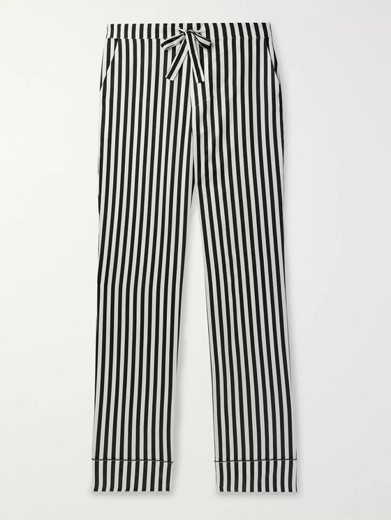 Les Girls Les Boys Piped Striped Cotton-Sateen Pyjama Trousers