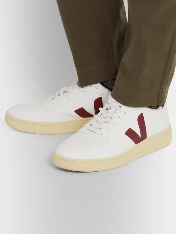Veja V-10 Rubber-Trimmed Faux Leather Sneakers