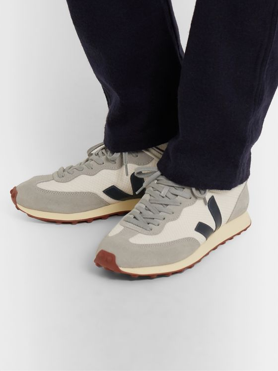 Veja Rio Branco Leather and Rubber-Trimmed Hexamesh and Suede Sneakers