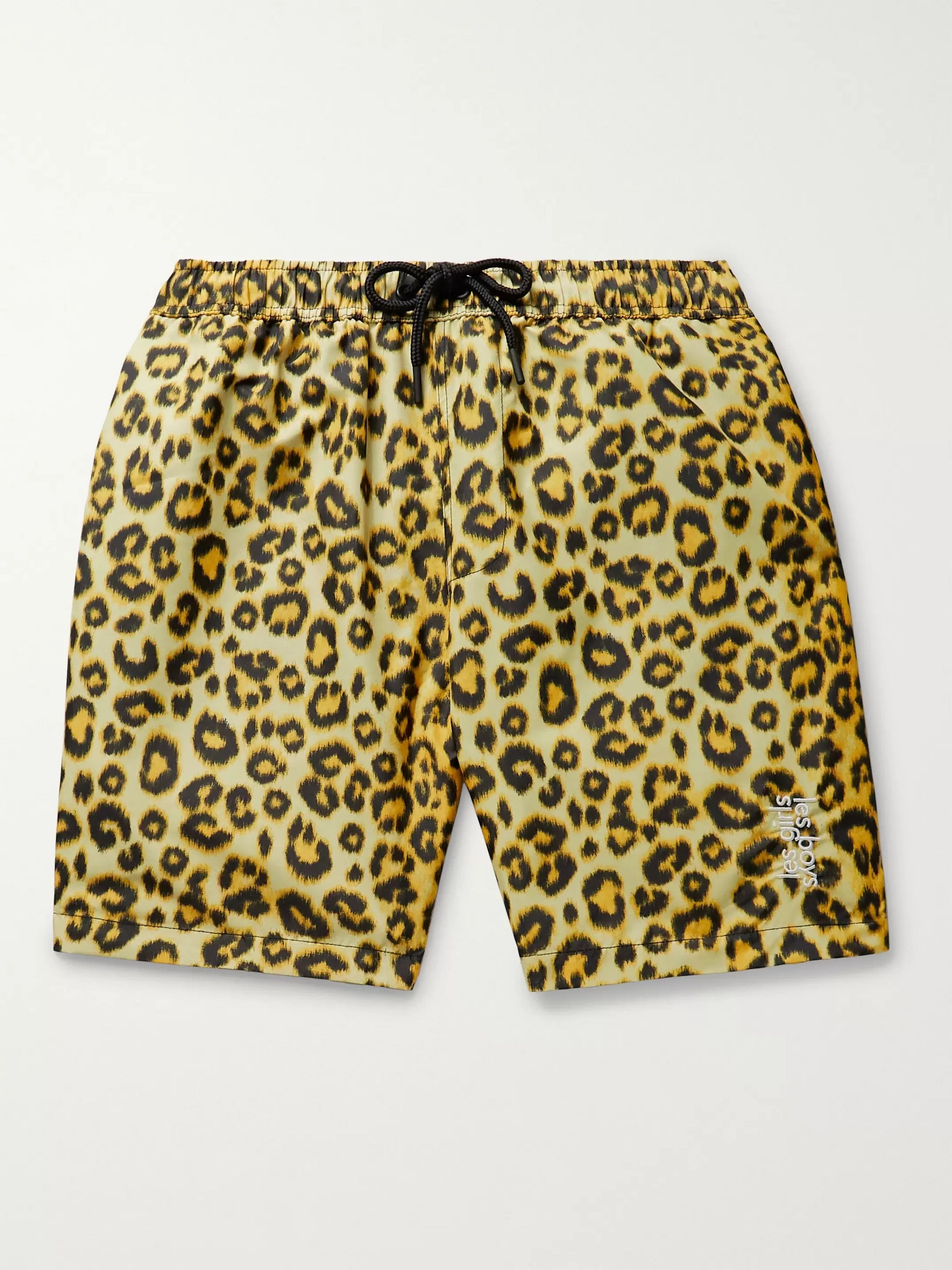Les Girls Les Boys Logo-Embroidered Leopard-Print Shell Swim Shorts