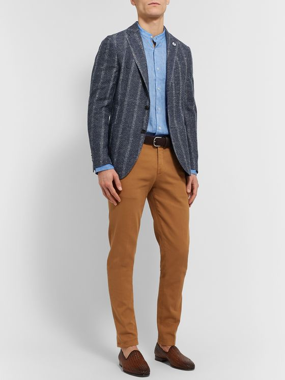 Lardini Slim-Fit Unstructured Striped Herringbone Cotton-Blend Blazer